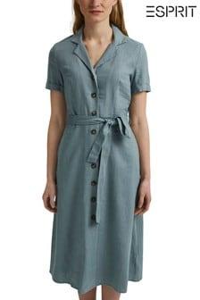 Esprit Blue Linen Blend Casual Dress