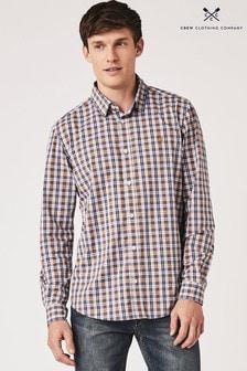 Crew Clothing Orange Classic Long Sleeve Poplin Check Shirt