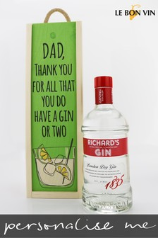 Personalised Thanks Dad Gin Wood Gift Box by Le Bon Vin