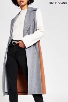 River Island Grey Adriana Colourblock Coat