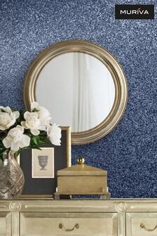 Muriva Blue Oriah Glitter Wallpaper