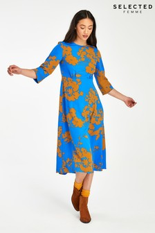 Selected Femme Blue/Orange Print Jade Midi Dress