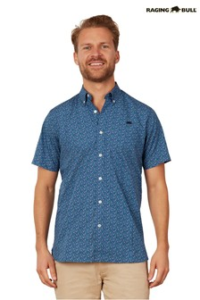 Raging Bull Blue Short Sleeve Lavender Print Shirt
