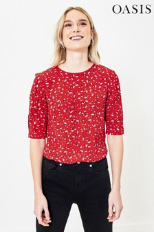 Oasis Red Ditsy Floral Pleated Top