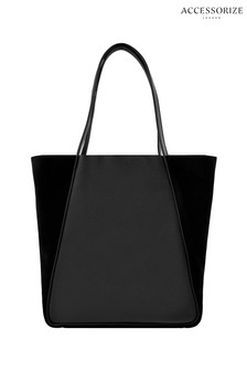 Accessorize Black Suki Suede Shopper