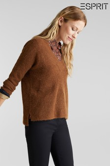 Esprit Brown V-Neck Sweater