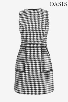 Oasis Natural Dogtooth Mini Dress