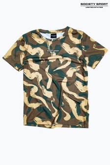 Society Sport Kids Khaki Squiggle Camo T-Shirt