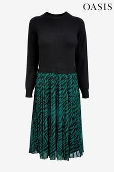 Oasis Green Talia 2-In-1 Tiger Print Dress