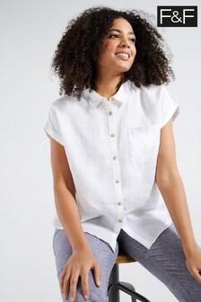 F&F White Short Sleeve Linen Shirt