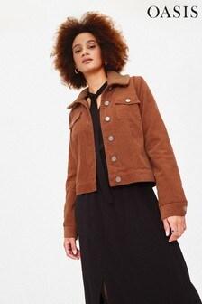 Oasis Natural Borg Collar Cord Jacket