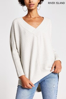River Island Cream Belle V-Neck Jumper