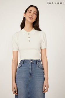 Warehouse Cream Embellished Collar Jumper