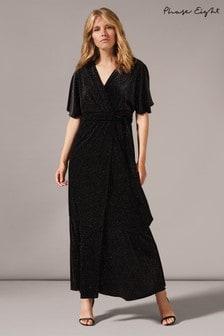 Phase Eight Black Robynne Sparkle Wrap Maxi Dress