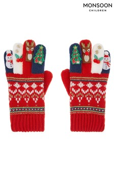 Monsoon Red Festive Novelty Gloves