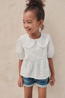 Cotton Broderie Collar Blouse (3-16yrs)