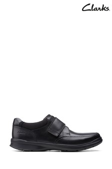 Clarks Black Smooth Lea Cotrell Strap Shoes