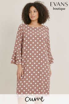 Evans Curve Mink Spot Frill Sleeve Shift Dress