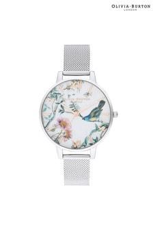 Olivia Burton Painterly Prints Silver Mesh Watch