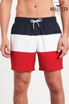 Hollister Red Colourblock Swim Shorts