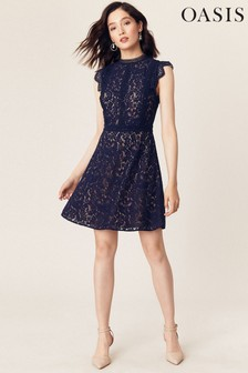 Oasis Blue Lace Trimmed Skater Dress