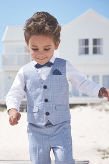 Check Waistcoat, Shirt And Bow Tie Set (3mths-7yrs)