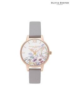 Olivia Burton Enchanted Garden Grey Lilac & Pale Rose Gold Watch