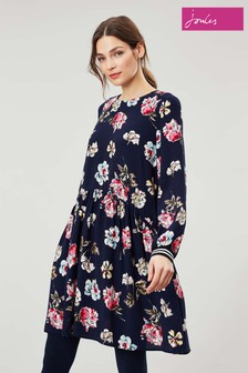 Joules Blue Alexa Curved Front Seam Dress