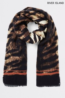 River Island Brown Tiger Print Sport Stripe Lightweight Scarf