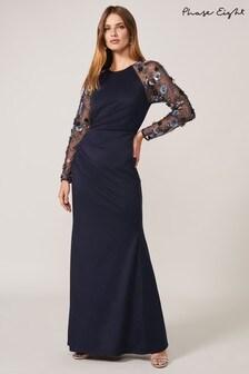 Phase Eight Blue Jody Sequin Sleeve Maxi Dress