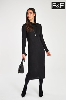 F&F Black Brushed Bias Cut Dress
