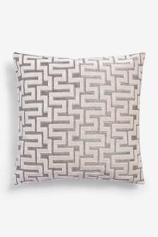 Blush Fretwork Velvet Small Square Cushion
