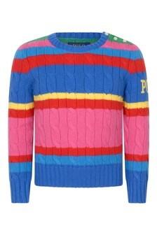 Ralph Lauren Kids Girls Pink Striped Cotton & Wool Sweater