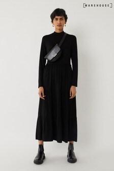 Warehouse Black Long Sleeve Tiered Midi Dress
