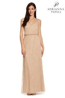 Adrianna Papell Nude Sleeveless Beaded Dress