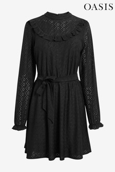 Oasis Black Broderie Bib Midi Dress