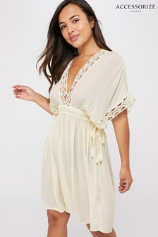 Accessorize Cream Geo Lace Kaftan Top