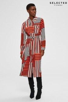 Selected Femme Orange Stripe Myla Shirt Dress