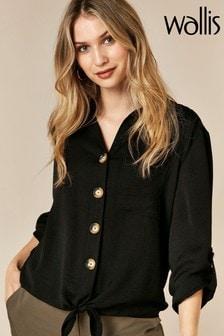Wallis Black Tie Front Shirt