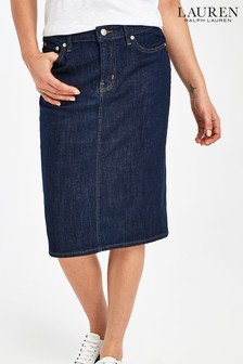 Lauren Ralph Lauren Indigo Denim Pencil Daniela Skirt
