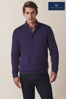 Crew Clothing Blue Erndale Cashmere Half Button Jumper