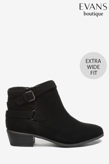 Evans Extra Wide Fit Black Double Buckle Boots