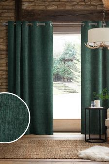 Bottle Green Heavyweight Chenille Eyelet Lined Curtains
