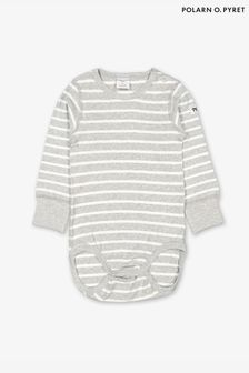 Polarn O. Pyret Grey GOTS Organic Striped Bodysuit