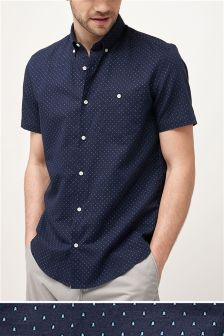 Short Sleeve Printed Linen Blend Shirt