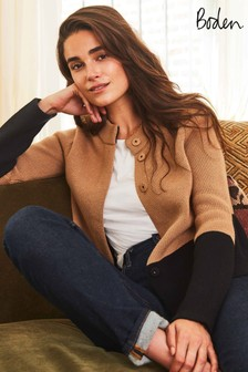 Boden Camel Claudia Cropped Cardigan