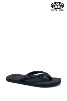 Animal Black Marl Swish Slim Flip Flops