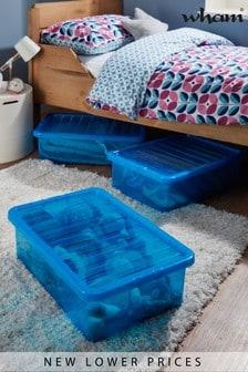 Set of 3 Wham Crystal 32L Plastic Storage U/Bed Box & Lid
