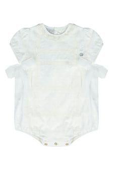 Baby Unisex Cream Cotton Romper