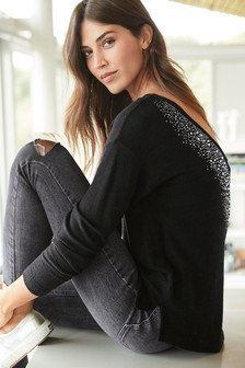 Embellished Back Cosy Top